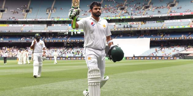 Pakistan batsman Azhar Ali walks off undefeated after scoring his double century