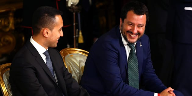 Italy's Minister of Labor and Industry Luigi Di Maio smiles next to Interior Minister Matteo Salvini at the Quirinal palace in Rome, Italy, June 1, 2018.  REUTERS/Tony Gentile