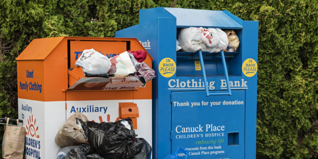 Clothing donation bins in Vancouver, B.C., July 7, 2015.