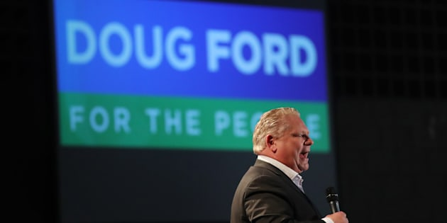 Ontario Premier Doug Ford, then PC leader, attends a debate at Cambrian College, Sudbury, Ont., on April 11, 2018.
