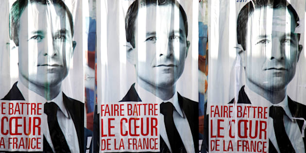 Affiches de campagne de Benoît Hamon, candidat à la primaire de la gauche