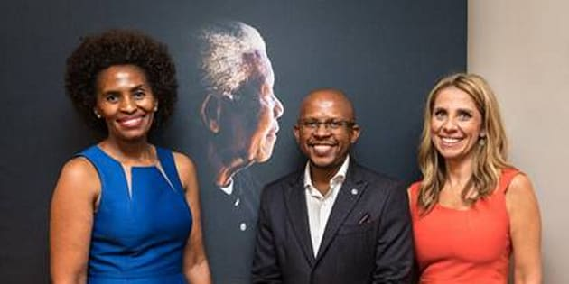 Nunu Ntshingila (L), Sello Hatang and Nicola Mendelsohn (R) at the Nelson Mandela Foundation.