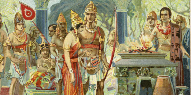 Marriage of Draupadi. Liebig collectors' card 1931 (Photo by Culture Club/Getty Images)