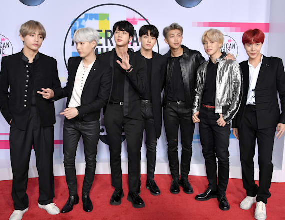 BTS arrive at the 2017 AMAs