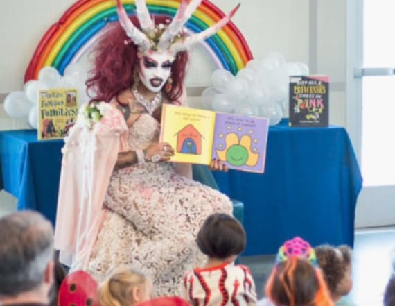 Drag queen reading to kids at a library goes viral