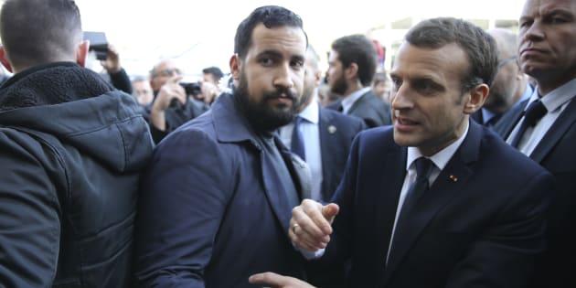 Alexandre Benalla et Emmanuel Macron au salon de l'Agriculture en février 2018.
