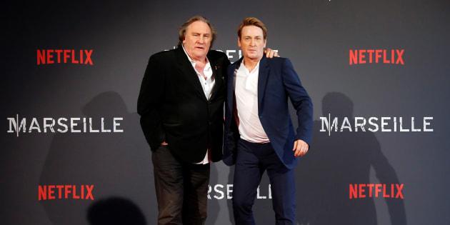 Gérard Depardieu et Benoît Magimel à Marseille le 4 mai 2016.