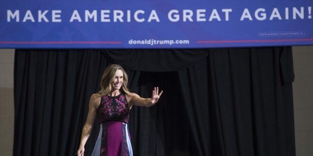 Lara Trump, daughter-in-law of US President Donald Trump, arrives during a Make America Great Again Rally at Big Sandy Superstore Arena in Huntington, West Virginia, August 3, 2017. / AFP PHOTO / SAUL LOEB        (Photo credit should read SAUL LOEB/AFP/Getty Images)