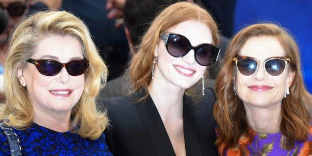 Catherine Deneuve,  Jessica Chastain e Isabelle Huppert en Cannes en 2017.