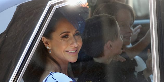 Jessica Mulroney arrives at the wedding of Prince Harry to Ms Meghan Markle at St George's Chapel, Windsor Castle on May 19, 2018 in Windsor, England.