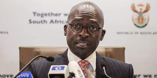 South African newly appointed Finance Minister Malusi Gigaba briefs the Press at the South African government communications office on April 1, 2017 in Pretoria, South Africa.