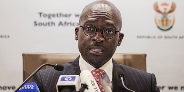 South African Finance Minister Malusi Gigaba briefs the Press at the South African government Communication's office on April 1, 2017 in Pretoria, South Africa.