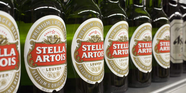 Bottles of Stella Artois beer, a brand of InBev, are displayed for sale at a store in Hong Kong's Sheung Wan district June 12, 2008.