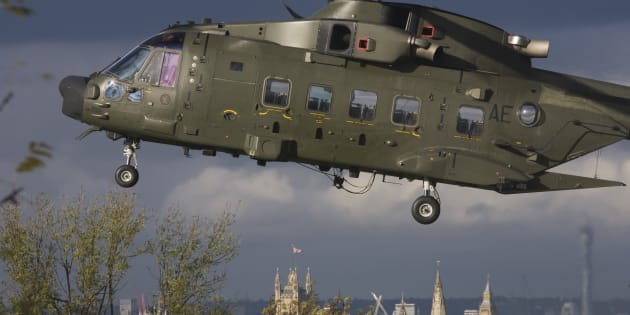 An AgustaWestland AW101 makes a controlled landing in a south London public park.