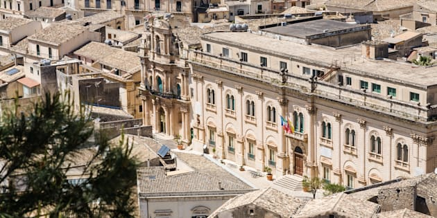 The town hall of the baroque city of Scicli seen from above in southern Sicily, Italy
