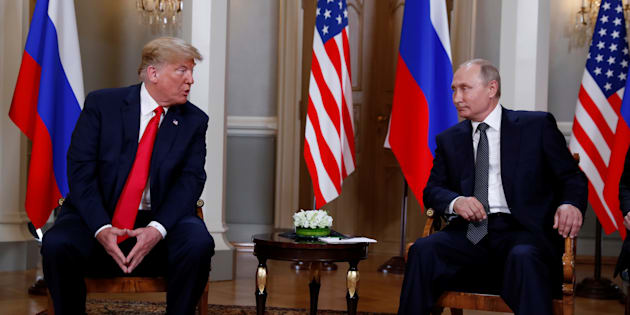 U.S. President Donald Trump meets with Russia's President Vladimir Putin in Helsinki, July 16, 2018.