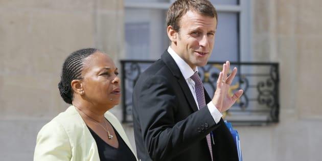 Christiane Taubira et Emmanuel Macron quand ils étaient collègues au gouvernement.