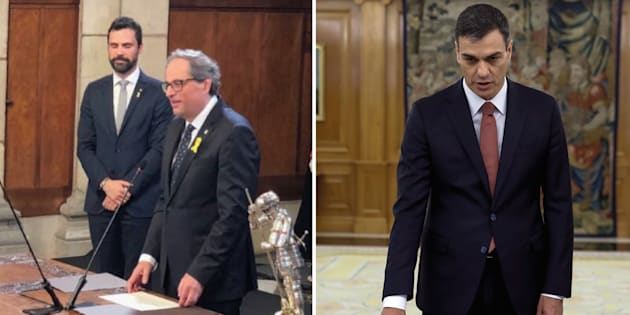 Prestations de serment à Madrid, pour Pedro Sanchez (à gauche) et Barcelone pour Quim Torra (à droite), le Premier ministre espagnol est-il une chance pour les indépendantistes catalans?