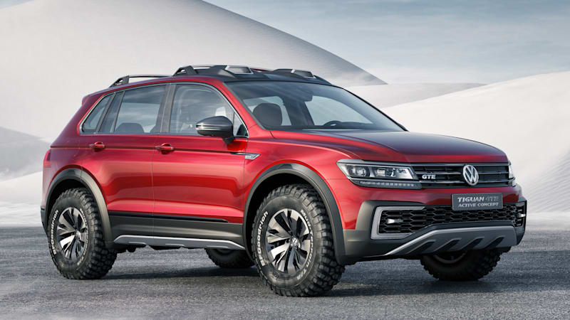 vw tiguan gte active concept is a sporty off road hybrid. Black Bedroom Furniture Sets. Home Design Ideas