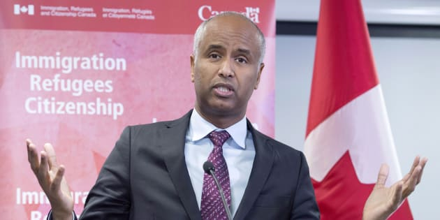 Immigration MinisterAhmedHussenmakes an announcement of support for pre-arrival services at the YMCA in Toronto on Jan. 14, 2019.