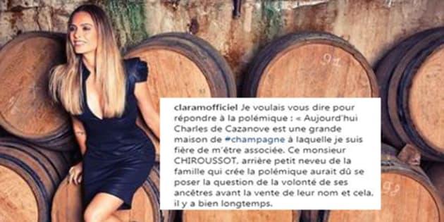 Clara Morgane répond au descendant de la maison de Cazanove