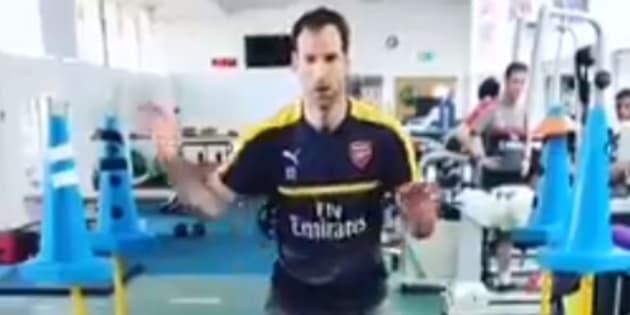 Petr Cech à l'entraînement, sous les couleurs d'Arsenal