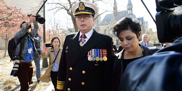 Vice-AdmiralMarkNormanarrives to court with lawyer Marie Henein in Ottawa on May 8, 2019.