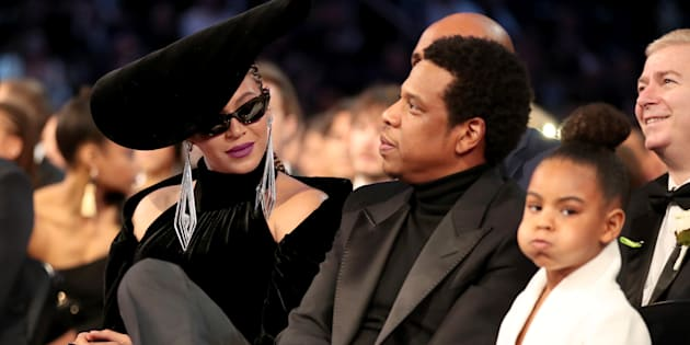 Beyonce, Jay-Z and Blue Ivy Carter attend the 60th Annual Grammy Awards at Madison Square Garden on Jan. 28, 2018 in New York City.
