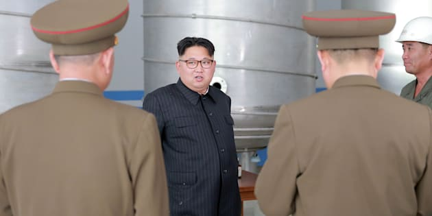North Korean leader Kim Jong Un visits the construction site of asoap factory in this undated photo released by North Korea's Korean Central News Agency (KCNA) on June 4, 2016.