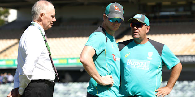 Australian selector Greg Chappell, Australian coach Darren Lehman and captain Steve Smith on day one of the third Test match of the 2017/18 Ashes series between Australia and England on December 14, 2017, in Perth, Australia.