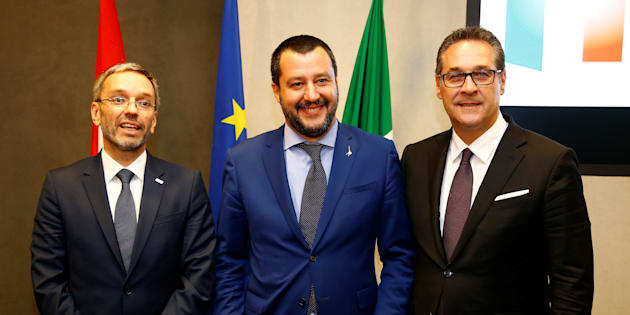 Italy's Interior Minister Matteo Salvini, his Austrian counterpart Herbert Kickl and Vice-Chancellor Heinz Christian Strache pose before the news conference at the Viminale in Rome, Italy, June 20, 2018. REUTERS/Stefano Rellandini