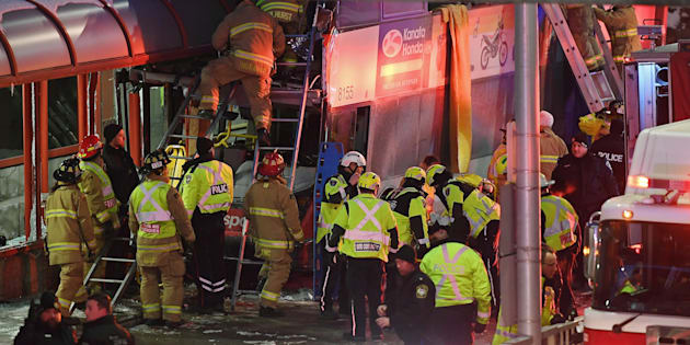 Ottawa bus crash: three dead as double decker hits transit shelter