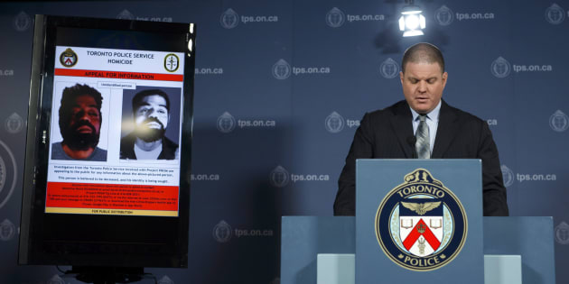 Detective Sergeant Hank Idsinga speaks to media regarding an unidentified male believed to be connected to the Bruce McArthur case, during a press conference at the Toronto Police Headquarters on April 11, 2018.