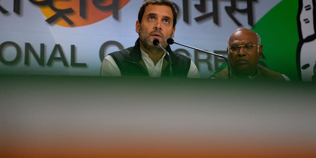 India's Congress Party vice-President Rahul Gandhi (C) addresses a press conference during the party's foundation day celebrations in New Delhi on December 28, 2016.  The party celebrated its 131st foundation day during an event at its headquarters in the Indian capital / AFP / CHANDAN KHANNA        (Photo credit should read CHANDAN KHANNA/AFP/Getty Images)