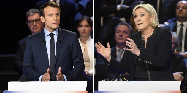 Emmanuel Macron et Marine Le Pen lors du débat du premier tour.