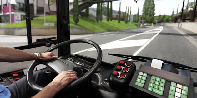 Stock image of bus driver in North America.