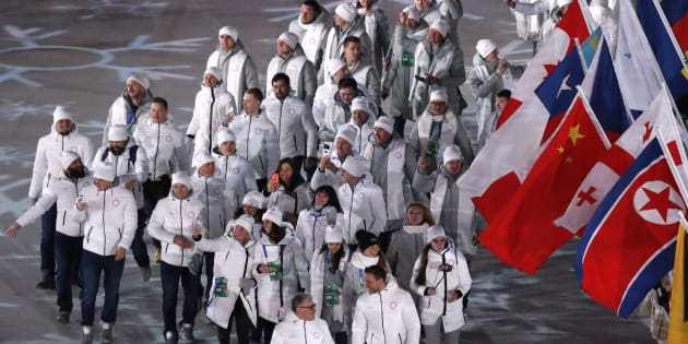 Olympic Athletes from Russia during the closing ceremony.