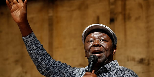 The late Morgan Tsvangirai addresses a crowd outside Parliament in Harare, Zimbabwe, November 21, 2017.