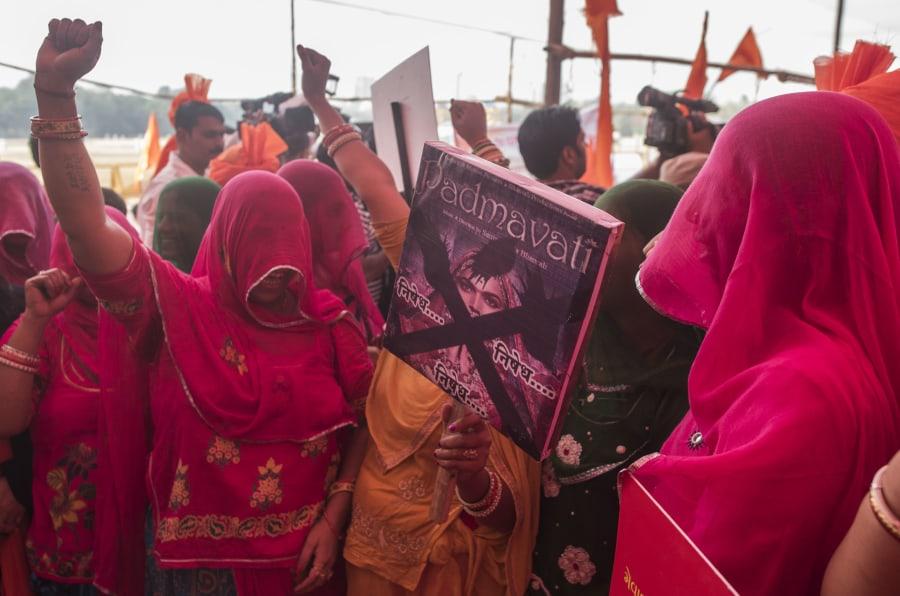 MUMBAI, INDIA - NOVEMBER 20: Akhil Bhartiya Maratha Mahasangha and Akhil Bhartiya Shatriyasangh protest against Padmavati movie at Azad Maidan on November 20, 2017 in Mumbai, India. Image used for representational purposes only.