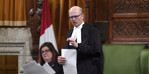 Speaker of the House of Commons Geoff Regan rises on a point of order in the House of Commons on Parliament Hill on May 25, 2018.