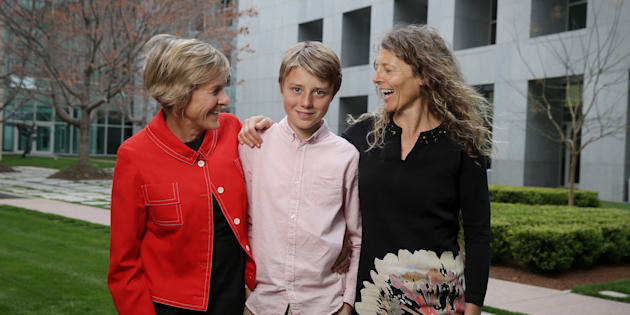 Eddie Blewett with his mums Neroli Dickson and Claire Blewett. Eddie 13 years has written to the Prime Minister Malcolm Turnbull after he was referenced in question time in a question to the Prime Minister on marriage equality at Parliament House in Canberra on Tuesday 13 September 2016. Photo: Andrew Meares