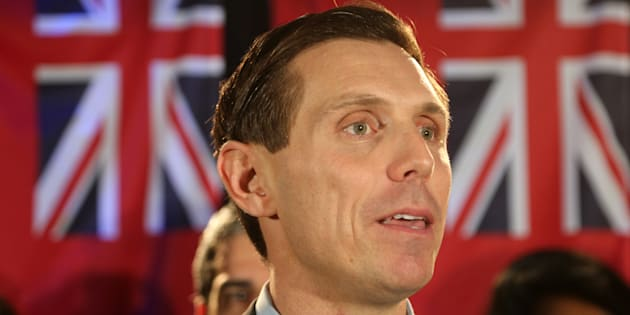 Patrick Brown, the former leader of the Ontario Progressive Conservative Party, speaks to supporters and members of the media during a rally in Mississauga, Ont. on February 18, 2018.