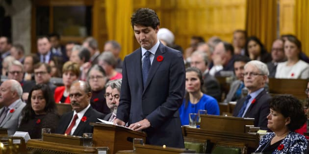 Prime Minister Justin Trudeau delivers a formal apology over the fate of the MS St. Louis and its passengers in the House of Commons on Nov. 7, 2018.