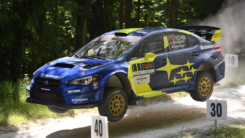 Riding up the Goodwood Festival of Speed rally stage in the Subaru