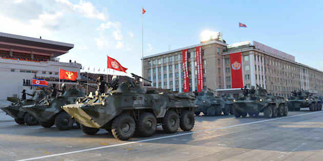 The North Korean military parades in this undated photo released by North Korea's Korean Central News Agency on Oct. 12, 2015.