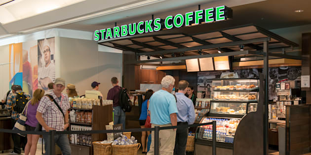 A Starbucks location at Toronto's Pearson International Airport. Starbucks is closing about 1,100 Canadian locations Monday afternoon for training on race, bias and inclusion.