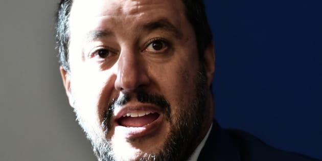 Matteo Salvini en conférence de presse en compagnie de Marine Le Pen le 8 octobre.