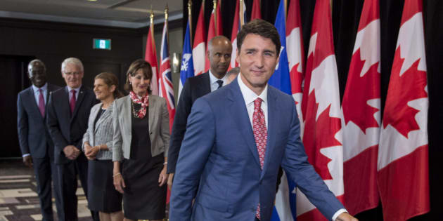 Prime Minister Justin Trudeau leaves a news conference held following a meeting with the Intergovernmental Task Force on Irregular Migration on Aug. 23, 2017 in Montreal.