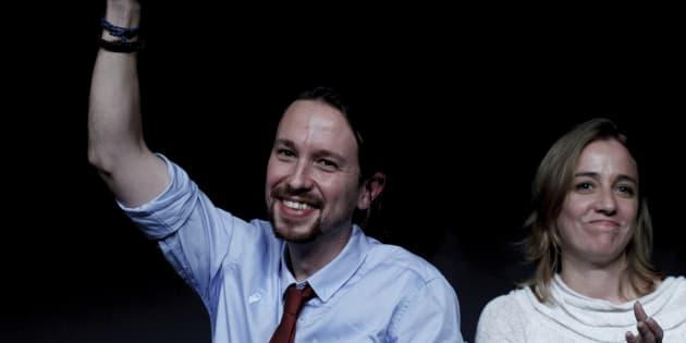 El líder de Podemos, Pablo Iglesias, y Tania Sánchez durante un acto en Madrid en 2015.
