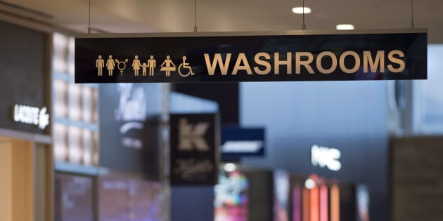 A sign for All Gender and Accessible Washrooms at Yorkdale Mall in Toronto on Tuesday December 11, 2018.